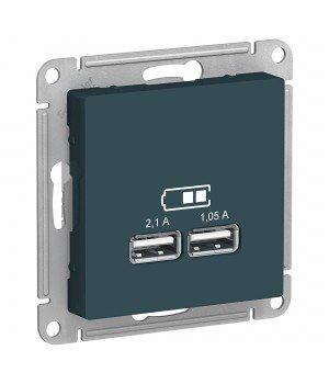 USB РОЗЕТКА, 5В, 1 порт x 2,1 А, 2 порта х 1,05 А, механизм, ИЗУМРУД
